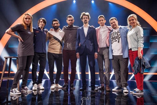 Андрей Бебуришвили с участниками шоу «Открытый микрофон»