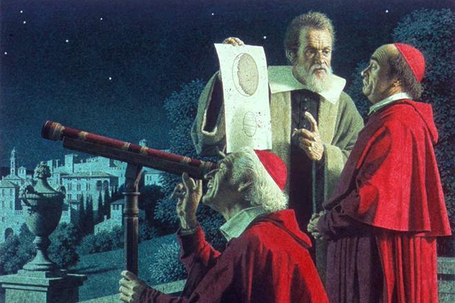 Галилео Галилей демонстрирует телескоп Папе Павлу V