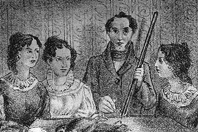 Шарлотта Бронте с сестрами и братом