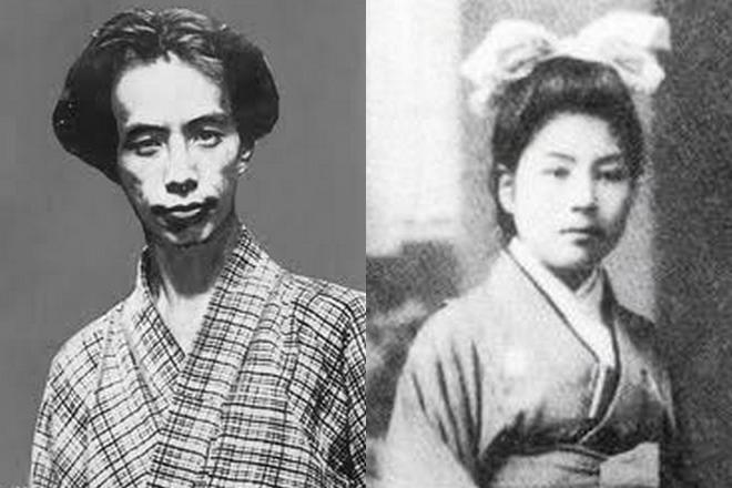Рюноскэ Акутагава и его жена Фуми Цукамото