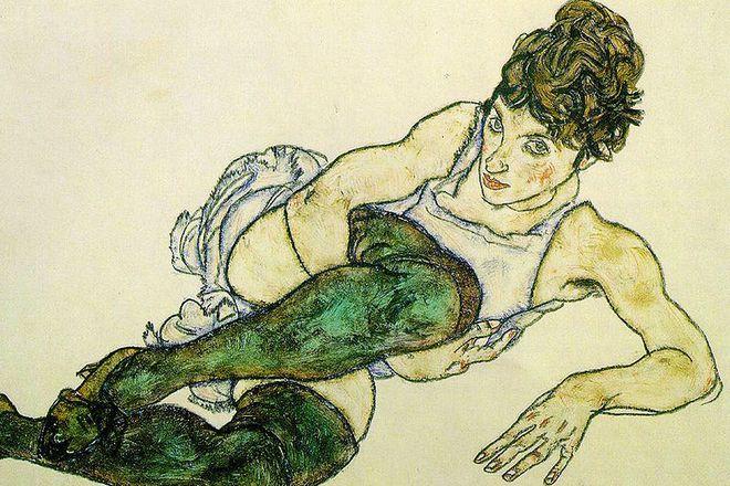 Картина Эгона Шиле «Женщина в зеленых чулках»