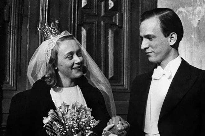 Ингмар Бергман и его первая жена Эльса Фишер