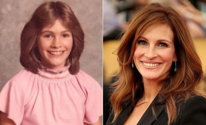 Джулия Робертс в детстве и сейчас