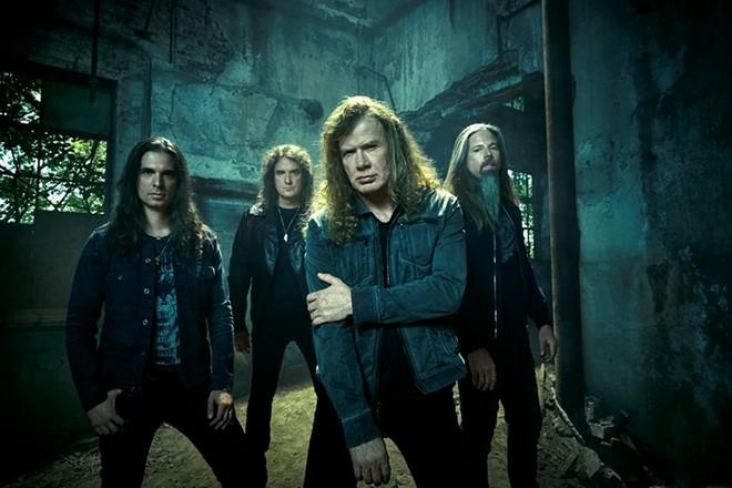 Группа «Megadeth» в 2014 году: Кико Лоурейро, Дэвид Эллефсон, Дэйв Мастейн, Крис Адлер