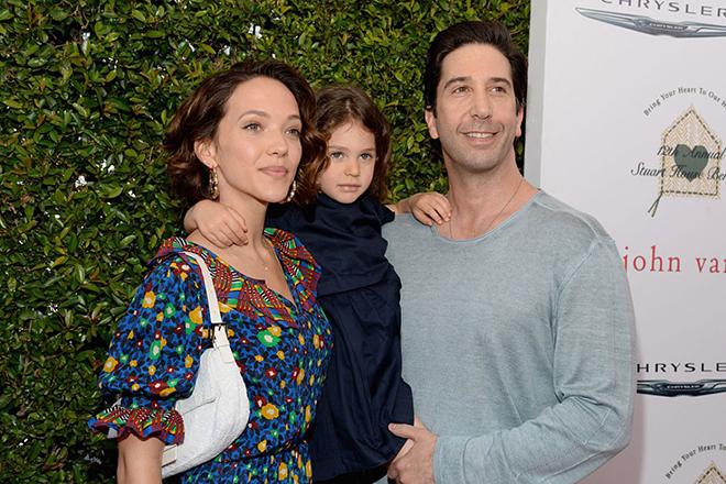 Дэвид Швиммер с женой и дочерью