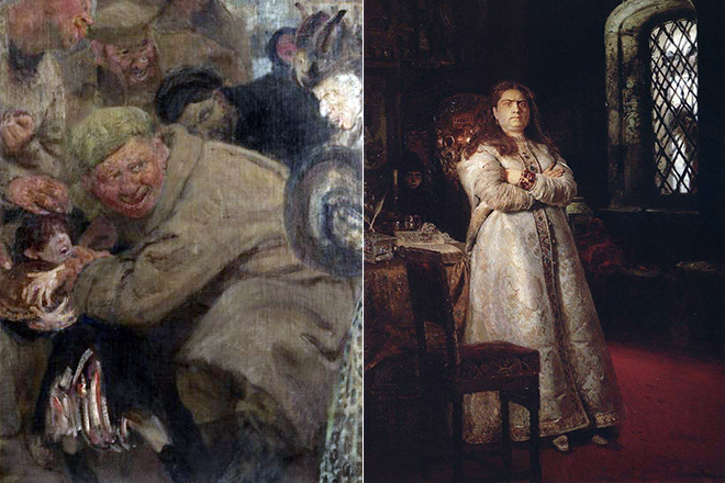 Картины Репина «Большевики» и «Царевна Софья»