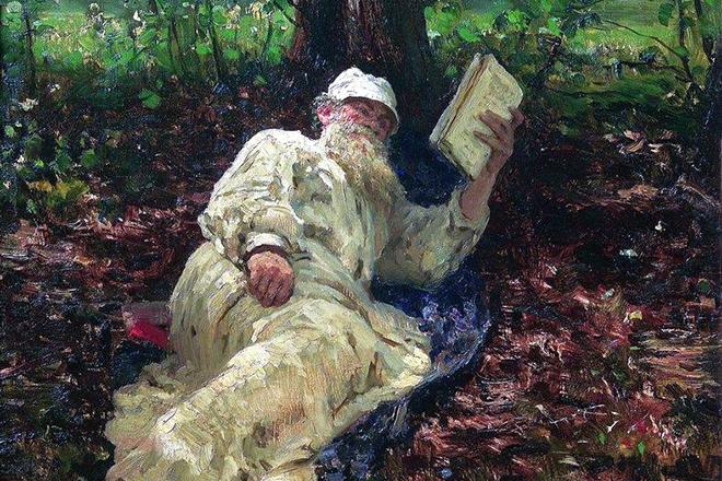 Лев Толстой читает книгу