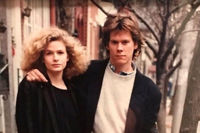 Кевин Бейкон и его жена Кира Седжвик в молодости