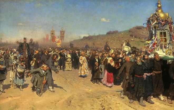 Картина Репина «Крестный ход в Курской губернии»