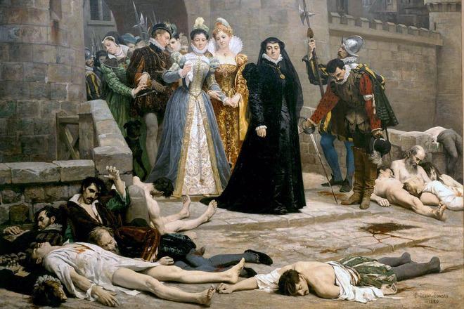 Екатерина Медичи смотрит на убитых во время резни в Варфоломеевскую ночь