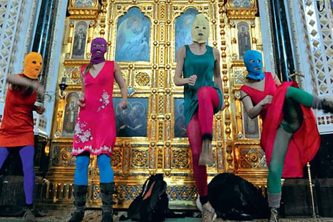 Группа Pussy Riot в храме Христа Спасителя