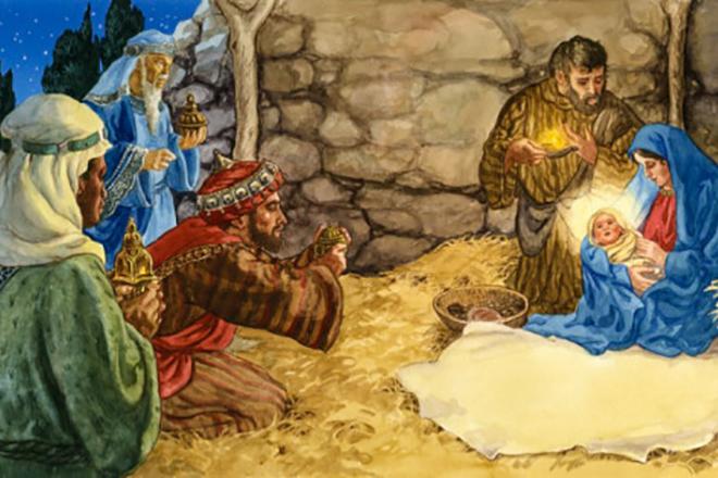 Волхвы приносят дары младенцу Иисусу