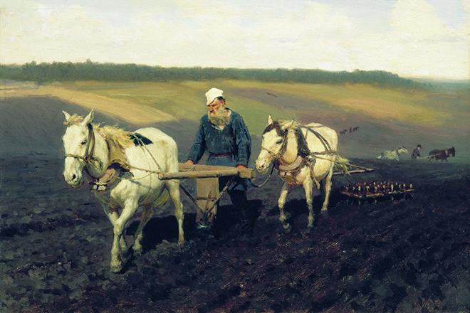 Лев Толстой за крестьянским трудом