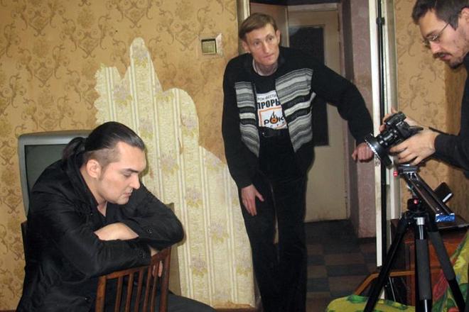 Алексей Горшенев на съемке фильма «В активном поиске»