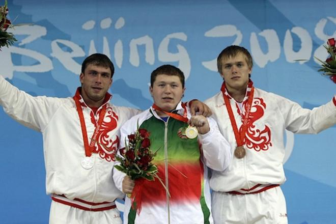 Дмитрий Клоков на подиуме Олимпийских игр