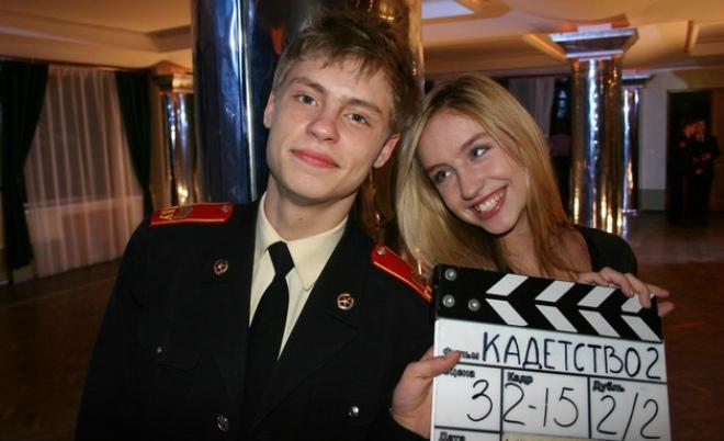 Александр Головин и Линда Табагари на съемках сериала «Кадетство»
