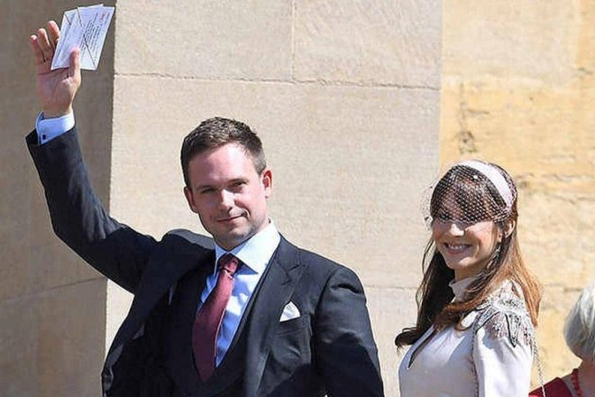 Патрик Джей Адамс и Тройэн Беллисарио на свадьбе Меган Маркл и принца Гарри