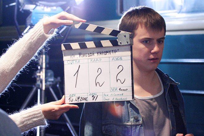 Иван Жидков на съемках фильма