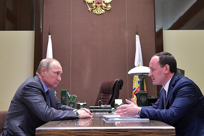 Павел Ливинский на встрече с президентом России Владимиром Путиным в Сочи