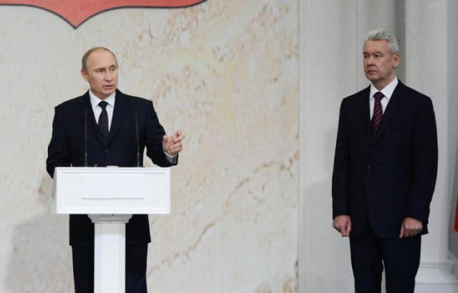 Владимир Путин и Сергей Собянин. Инагурация нового мэра столицы на Поклонной горе