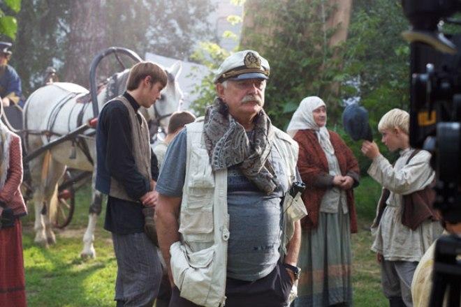 Никита Михалков на съемочной площадке фильма