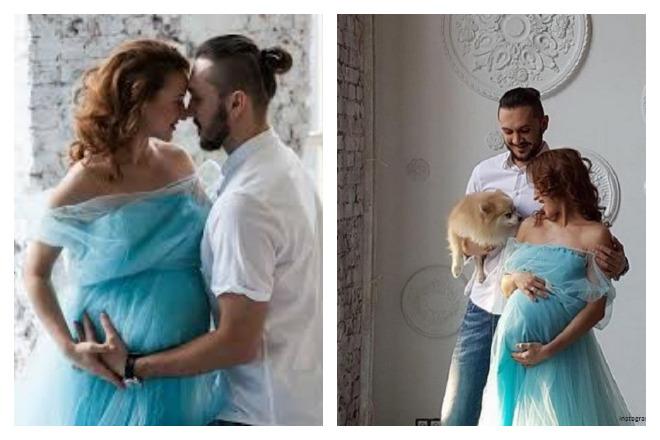 Беременная Татьяна Волосожар с мужем