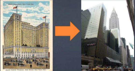 Отель Коммодор до и после реконструкции Трампа
