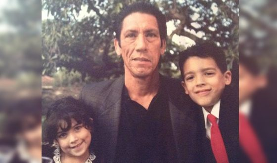 Дэнни Трехо с детьми: дочь Даниель и сын Гилберт